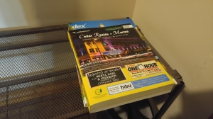 Yellow pages in corner