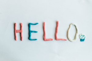 Clay letters spelling HELLO