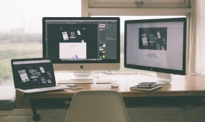 WordPress website on computer monitors