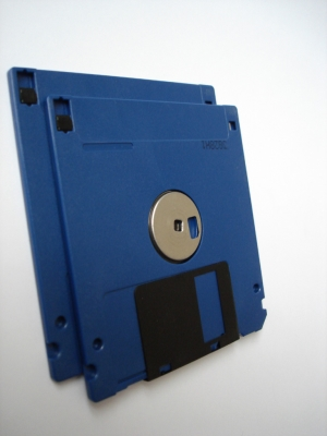Blue floppy disks