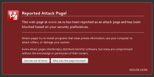 Firefox reported attack page