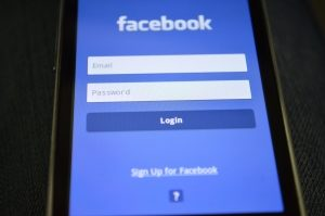 Facebook social media login page