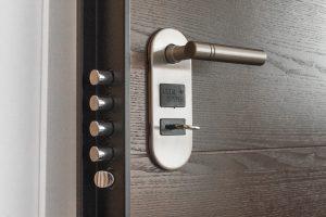 Secure door with key