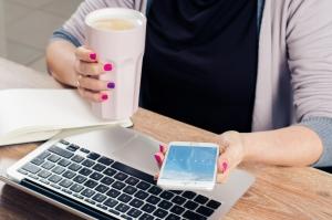 Freelancer working at desk