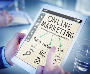 Online marketing cover with SEO, content, and lists