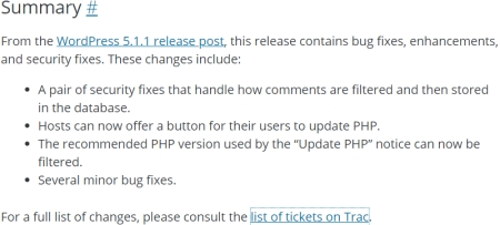 WordPress security and release updates